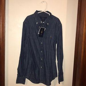 NWT boys Ralph Lauren denim button down shirt